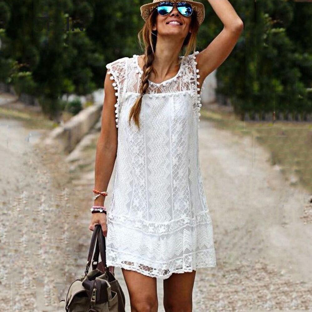 VESTLINDA Lace Dress Women O Neck Sleeveless Solid White Dress Summer 2017 Fresh Style Loose Mini Short Dress Vestidos Plus Size 1
