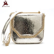 Shaggy Deer Brand Quality PVC Faux Leather Serpentine Small Flap Chain Bag Lady falabella Crossbody Shoulder Bag
