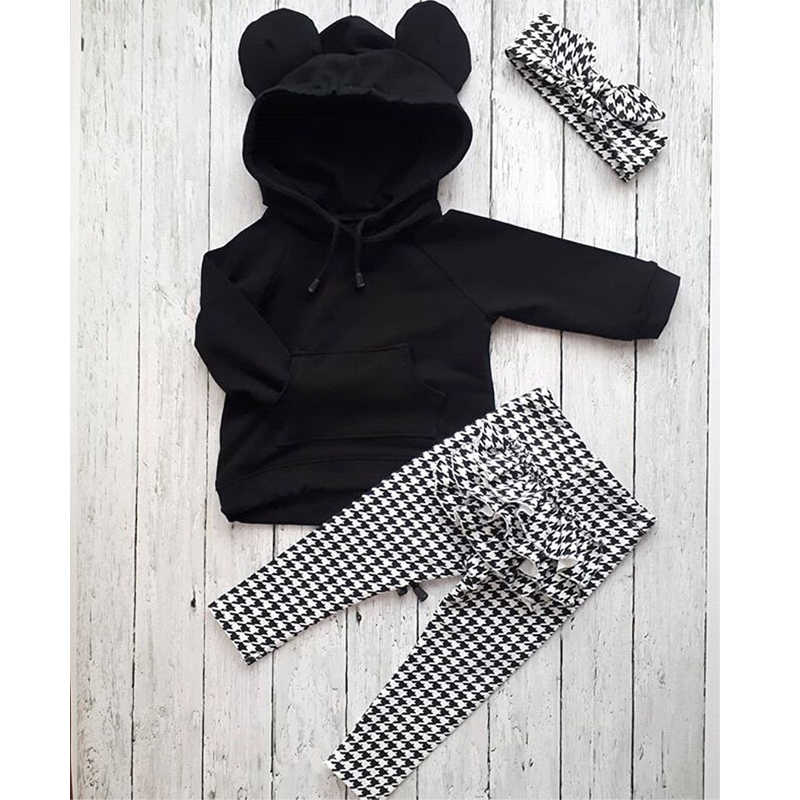 1-6Y Autumn Winter Lovely Toddler Baby Girls Clothes Sets 3PCS 3D Ears Hooded Pullover Black Tops+Ruffles Plaid Pants+Headband