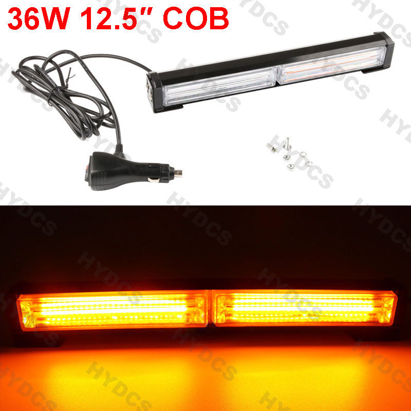 CYAN SOIL BAY 36W COB Amber LED Emergency Hazard Warning Flash Strobe Beacon Light Bar Yellow 4x 4 led car flash truck emergency beacon light bar hazard strobe warning amber white blue red