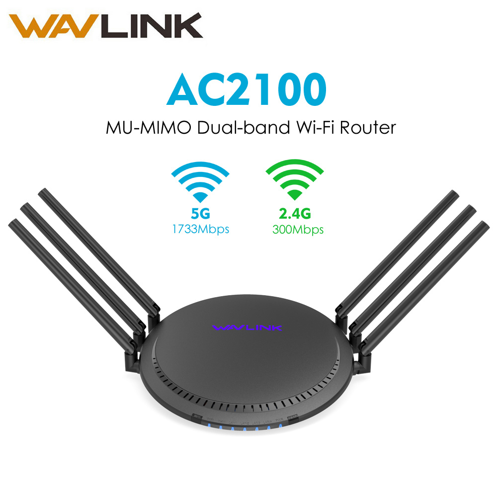 Wavlink AC2100 MU-MIMO Dual-band Router Wi-fi Sem Fio Inteligente Router Wi-Fi com Touchlink 5 GHz/1733 Mbps + 2.4 GHz/300 Mbps Gigabit Lan