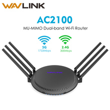 Wavlink AC2100 MU-MIMO Dual-band Smart Wi-Fi Router with Touchlink Wireless WiFi Router 5GHz/1733Mbps+2.4GHz/300Mbps Gigabit Lan asus rt ac88u ac3100 dual band gigabit wifi 802 11ac mu mimo 2 4ghz 5ghz 8ports gigabit ethernet black red 3g 4g router
