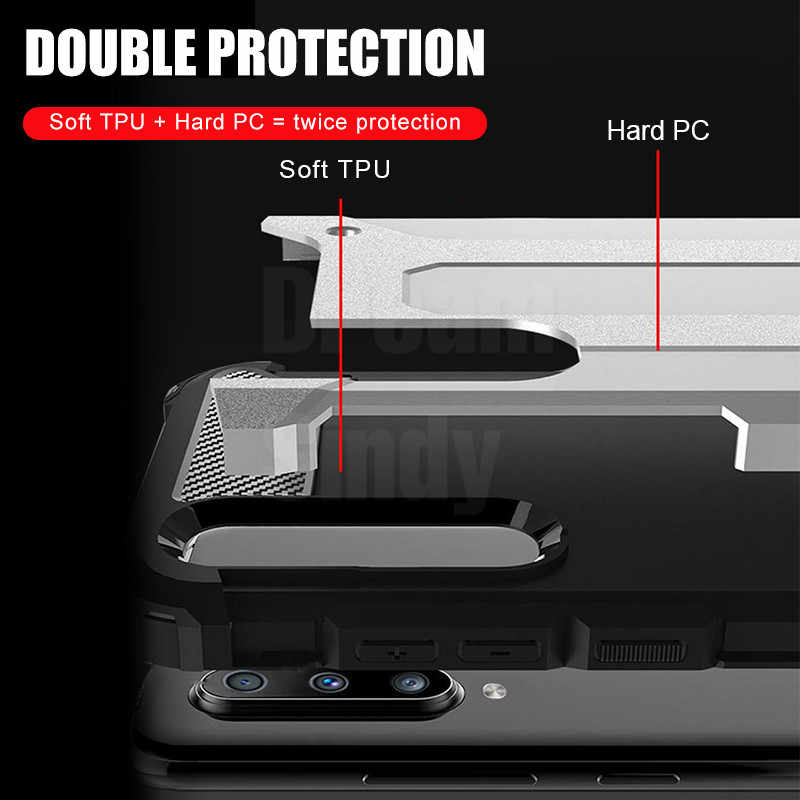 Lüks zırh yumuşak tampon olgu kapak Samsung Galaxy A50 A10 A30 A40 A70 M20 darbeye dayanıklı durumda A50 silikon telefon kılıfı