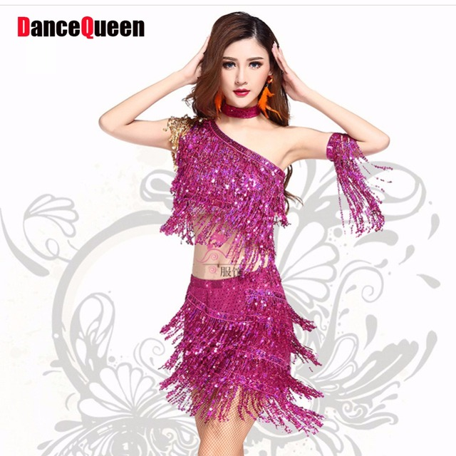 36e615367766 2017 Hot Latin Dress Women 2Pcs(Top+Skirt) 4Colors Tassel Sequin Leotard  Vestido Baile Latino Enfeites Para Quarto Dance Clothes