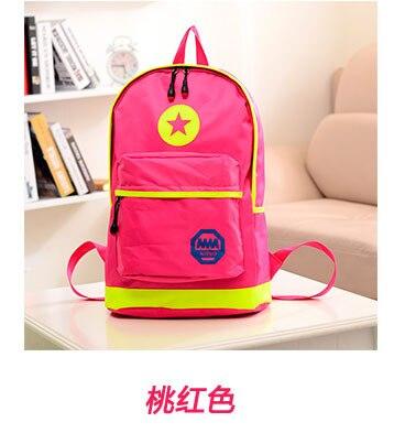 Neon Star Double Shoulder Backpack Girl And Boy Big School Bags MM ...