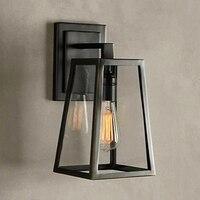 Amerikan eski demir duvar lambası loft dış mekan duvar ışıkları başucu e27 edison bahçe duvar aplik bahçe deco aydınlatma siyah lambası sıcak