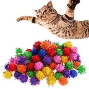 Image 4 - 100Pcs Colorful Mini Sparkly Glitter Tinsel Balls Small Pom Ball For Cat Toys