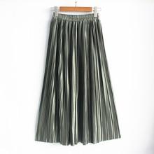 Модная блестящая металлическая шелковая Корейская Новая женская плиссированная юбка макси с высокой талией юбки-пачки эластичные юбки размера плюс длинные юбки Saia