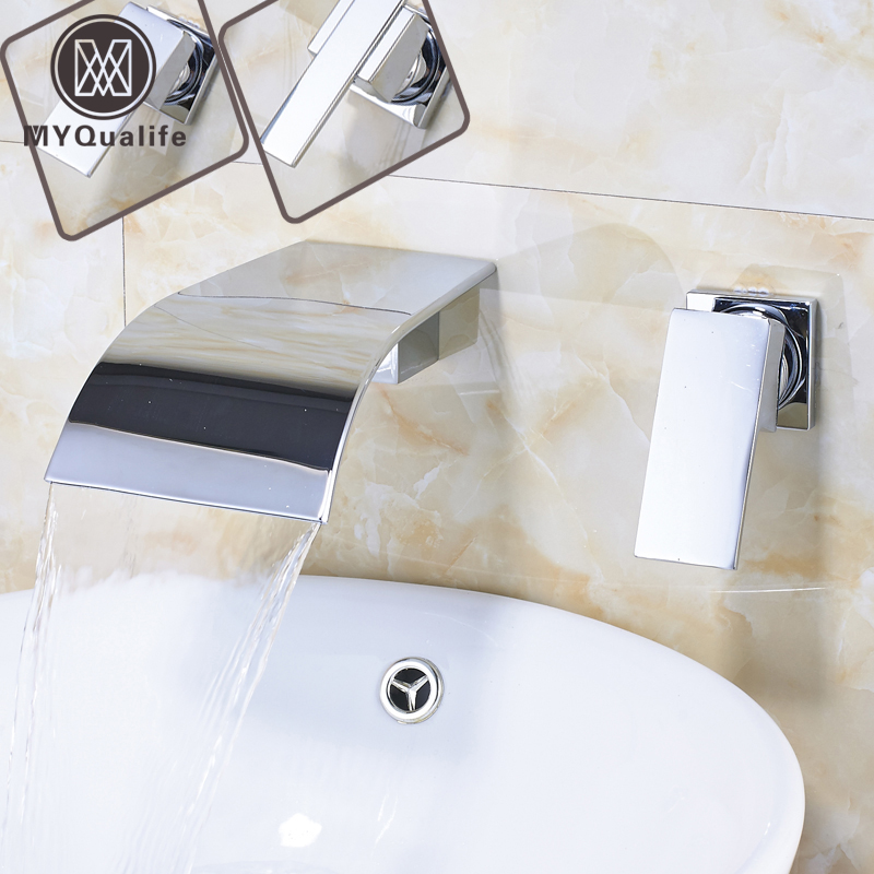 Single Lever Waterfall Spout Bathroom Sink Faucet Wall Mounted Chrome Dual Hole Washing Basin hot and cold Water Tap