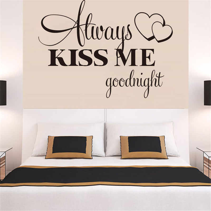 Hot Selling Home Decoration Hot!Always Kiss Me Goodnight Wall Sticker Quote Decal Removable Sticker Adesivo de parede D38JL19