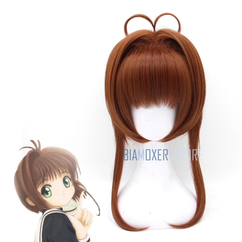 Biamoxer Card Captor Sakura Kinomoto Sakura Brown Short Straight Bangs Bob Anime Cosplay Wig Women Girls Party Wigs