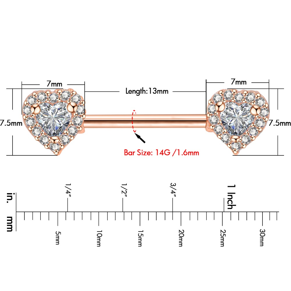 """Pair 14g 3//4/"""" 316L Surgical Steel with 6mm Double Clear CZ Nipple Barbells Ring"""