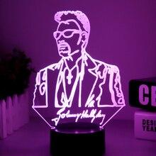 Джонни Холлидей 3D лампа Illusion прикроватной тумбочке светодиодный USB Touch RGB 7 цветов пеленальный столик ночник певица Детские декоративные лампы Декор