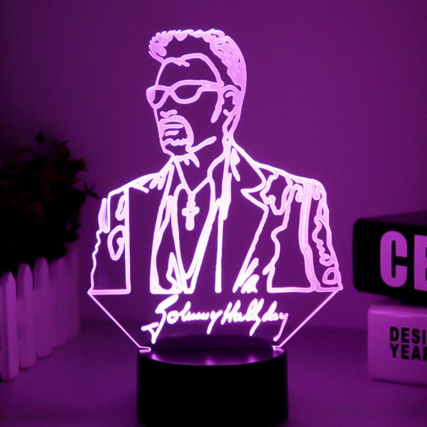 Johnny Hallyday 3D lámpara ilusión de USB LED RGB táctil 7 que cambia de Color de luz de la noche, lámpara de mesa cantante bebé decorativo Lámpara decorativa decoración