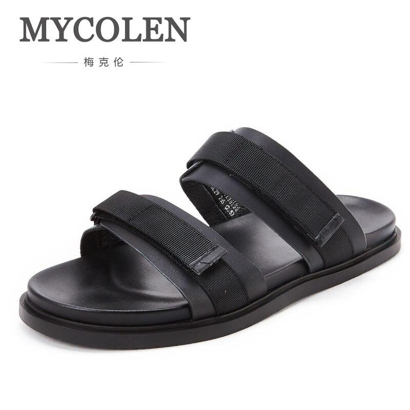 MYCOLEN кожаные мужские сланцы 2018 г. модная летняя пляжная обувь ручной работы шлепанцы на низкой платформе Мужская обувь мужские вьетнамки
