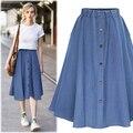 Plus size vintage faldas mujeres 2016 verano estilo coreano vestido denim jeans falda elástico de la cintura faldas mujer A0703