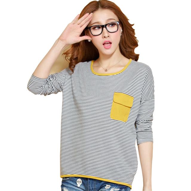 Camiseta Mulheres Outono 2017 Tops de Manga Longa Camisetas Listradas o pescoço Pockets T-Shirt Pano Es Plus Size Womans Vetement Femme Tshirt