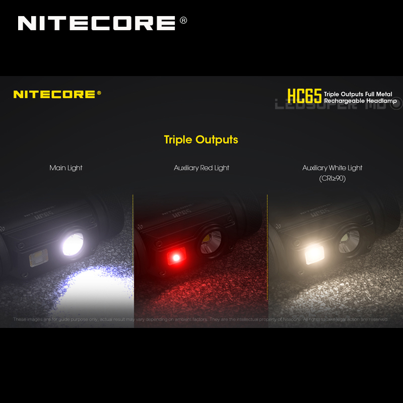 Top 1 Selling Nitecore HC65 CREE XML2-U2 LED 1000 Lumens Triple Output Full Metal Rechargeable Headlamp with Li-ion Battery 2