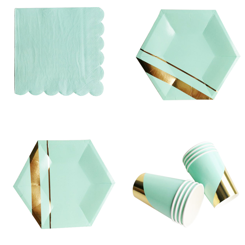 Mint Green Gold Blocking Striped Disposable Tableware Set