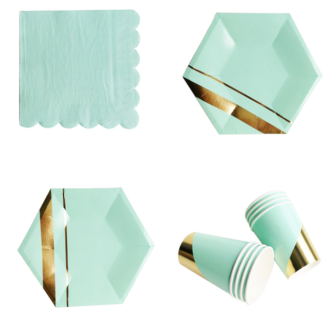 Mint Green Gold Blocking Striped Disposable Tableware Set Paper Plates Cups Napkins Party Wedding Carnival Tableware  sc 1 st  AliExpress.com & Mint Green Gold Blocking Striped Disposable Tableware Set Paper ...