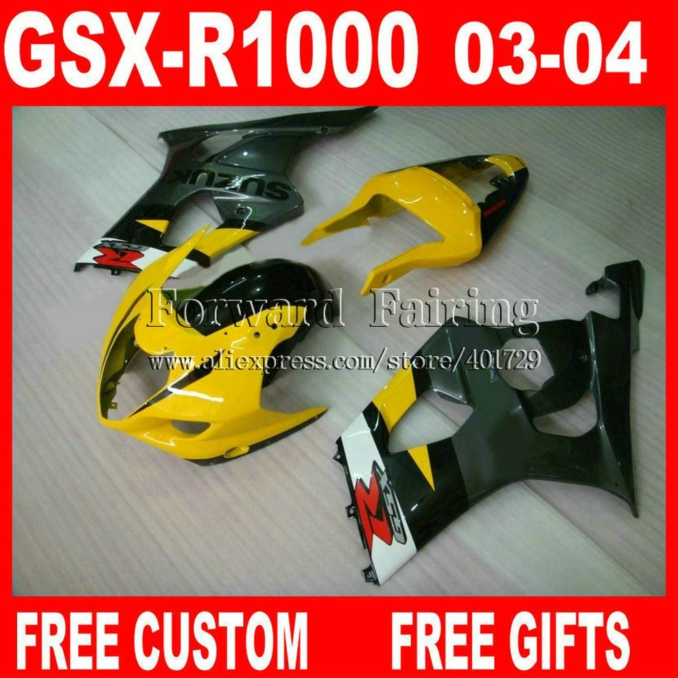 Free custom Fairings for 2003 2004 SUZUKI GSXR 1000 fairing kits 03 04 GSXR1000 K3 GSX-R1000 yellow gray black white KH192