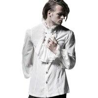 Punk Gothic Shirt Mens White Shirts Black Blouses 2017 Fashion Chiffon Emnossing Dress Shirt Long Sleeve Blouses Of Large Sizes