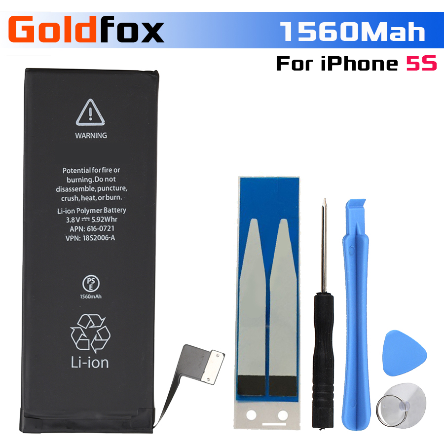 2018 100% 1560 mAh Li-Ion החלפת סוללה עבור iPhone 5S batterij 5S מובנה סוללת ליתיום עבור iPhone טלפון נייד סוללה