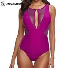 Women Bikinis 2019 Mujer Sexy Slim Hollow Mesh Stitching Swimsuit One Piece Swimwear