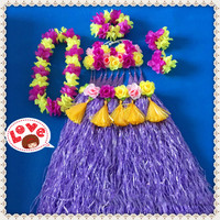 1sets/lot S84# Event & Party suppliers Hawaiian Hula Grass Skirt Flower Party Dress Beach Dance Costume Free Shipping