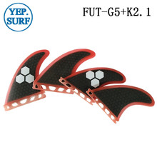4pcs Future Quad Fin G5+K2.1 Honeycomb Surf Black and Red with logo Surfboard Quihas In Surfing