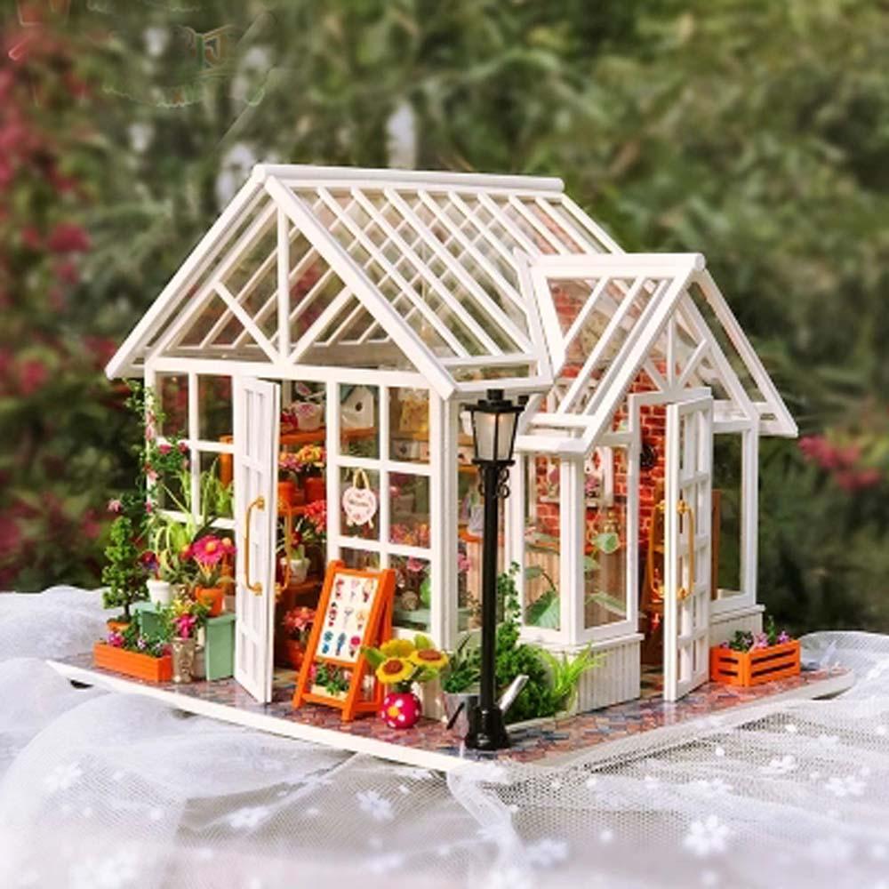 DIY Dollhouse Wooden Houses Miniatures for dolls dollhouse Furniture Kit doll houses Toys for Children Gift
