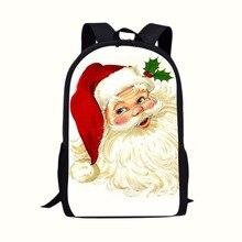 Big White Beard Santa Cartoon Printing School Bag Backpack Gift from Santa Claus Backpacks have more gifts than sock Kids Supply