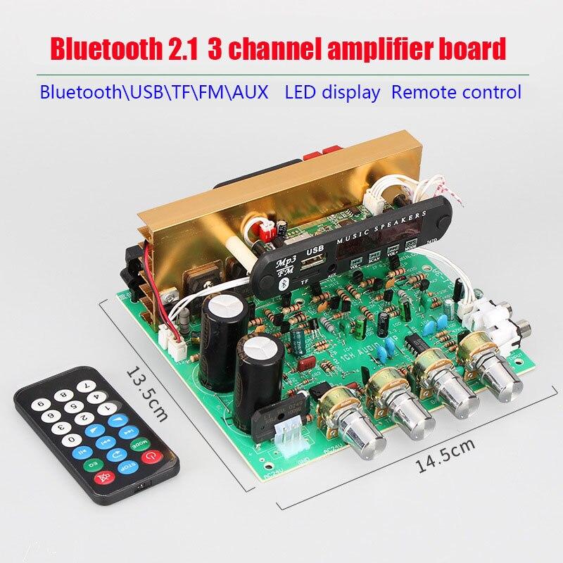 3*80W Bluetooth 2.1 3 Channel Big Power Amplifier Board Multifunction TF\USB\FM\AUX LED Display Remote Control Dac For DIY3*80W Bluetooth 2.1 3 Channel Big Power Amplifier Board Multifunction TF\USB\FM\AUX LED Display Remote Control Dac For DIY