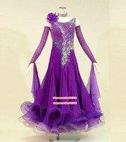 pProfessional Womens Ballroom Dance Dresses Standard Waltz Flamenco Tango Competition Dress Purple For Salsa Competition Costume