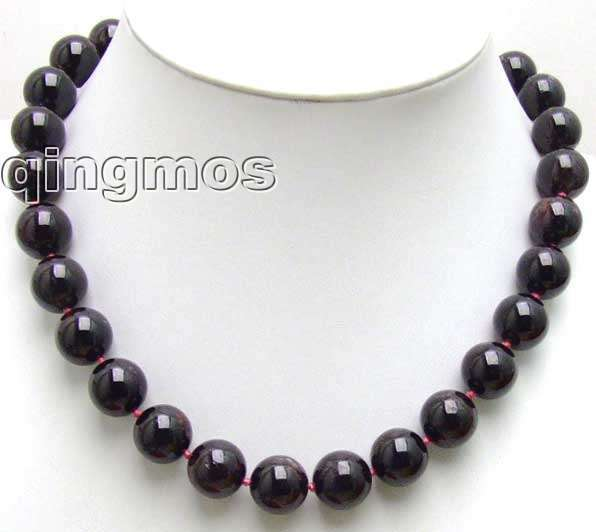 "SALE Big 13mm Round High quality natural garnet Beads 17"" necklace-nec5540 Wholesale/retail Free shipping"