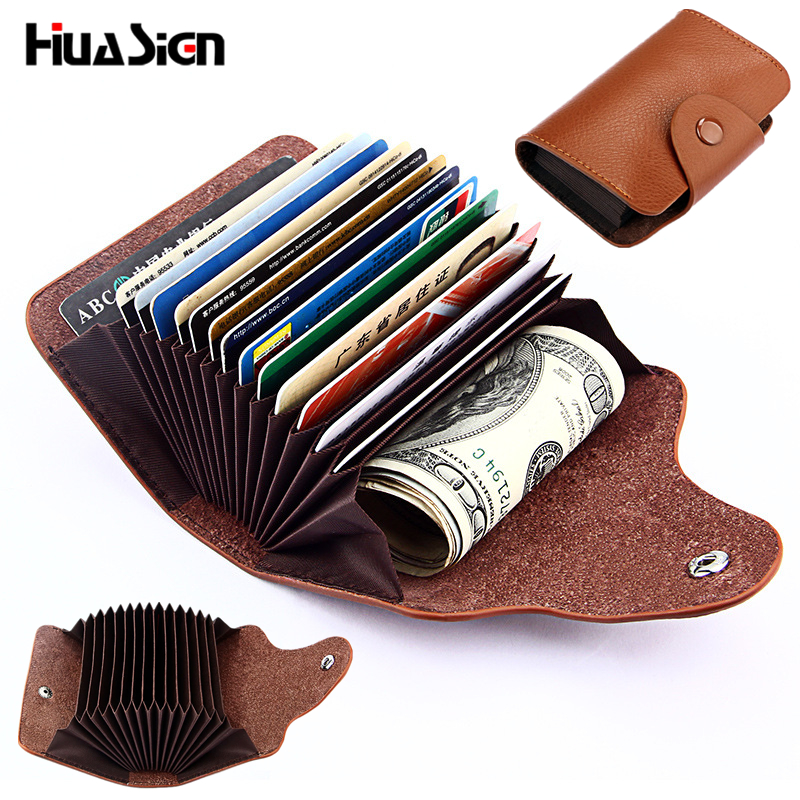 Simple Fashion Genuine Leather Organ Card Bag ID Holders 13 Card Position
