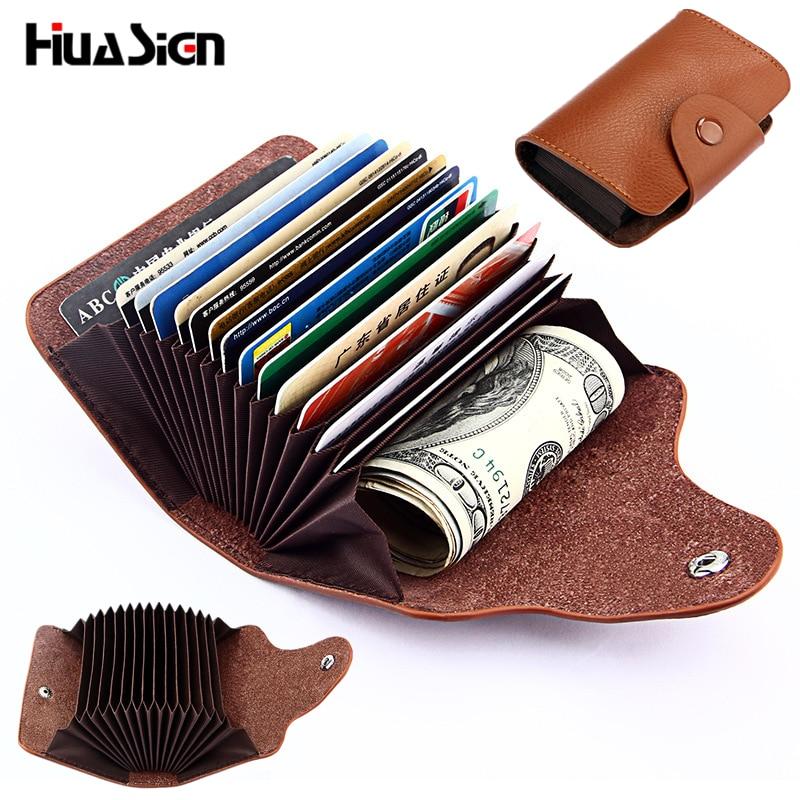 Simple Fashion Genuine Leather Organ Card Bag ID Holders 13 Card Position