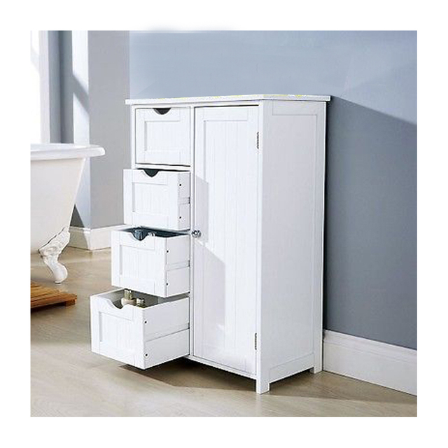 White MDF Console Table Free Standing Cupboard Sideboard Living Room Cabinet 1 Door 4 Drawer Dropshipping