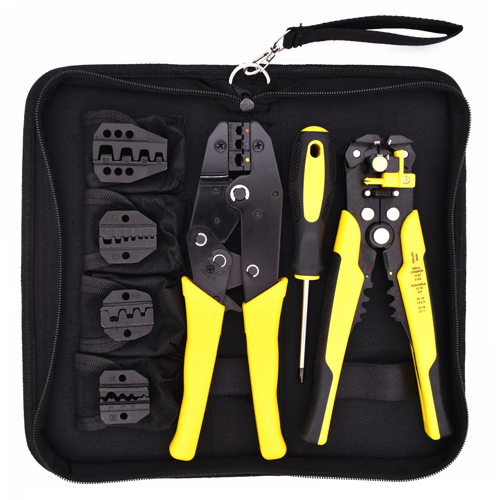 4 In 1 Multi Wire Crimper Tools Kit Engineering Ratchet Terminal Crimping Plier With Wire Stripper Screwdriver 4 Spare Terminals