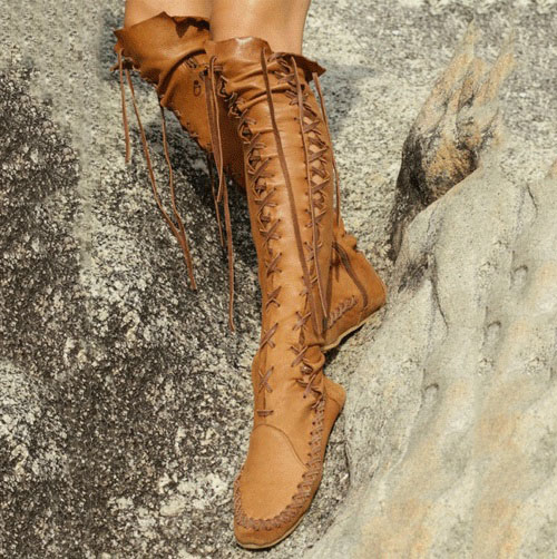 2017 New Arrival Autumn Winter Dress Shoes Women Round Toe Cut-outs Botas Promotion Lace Up Flat Thigh High Cuwboy Boots