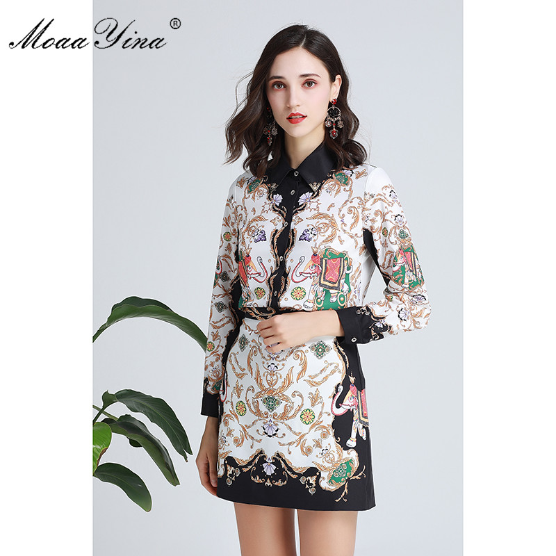 MoaaYina Fashion Designer Set Spring Women Turn-down Collar Long sleeve Floral-Print Shirt Tops+Short skirt Two-piece suit