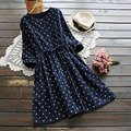 Spring Dot O Neck Women's Casual Single Breasted Long Sleeve Drawstring Pocket Cute Kawaii Female Dress Mori Girl U565
