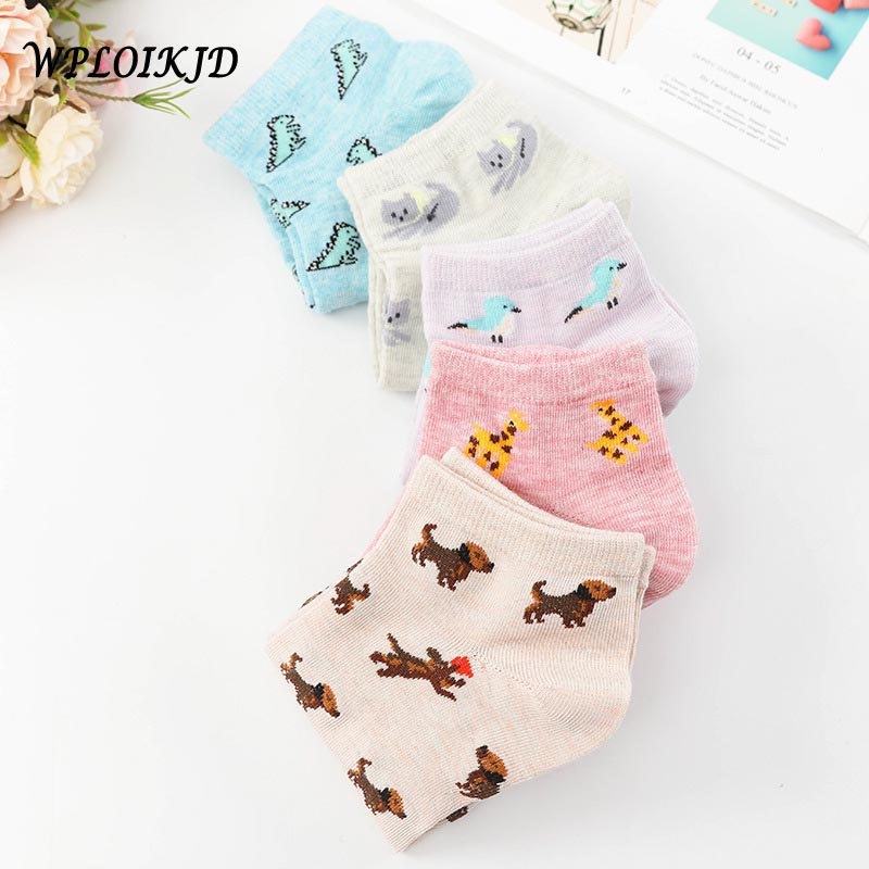 Japanese Kawaii Cartoon Cute Socks Women Lovely Dinosaur Bird Funny Socks Skarpetki Ankle Summer Socks Jacquard Meias Feminino
