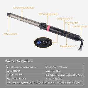 Image 5 - 9 32mm מקצועי מסלסל שיער עמוק גל קרלי Styler תלתלים סלון LED טיטניום שיער קרלינג ברזל מקל סטיילינג אבזר S36