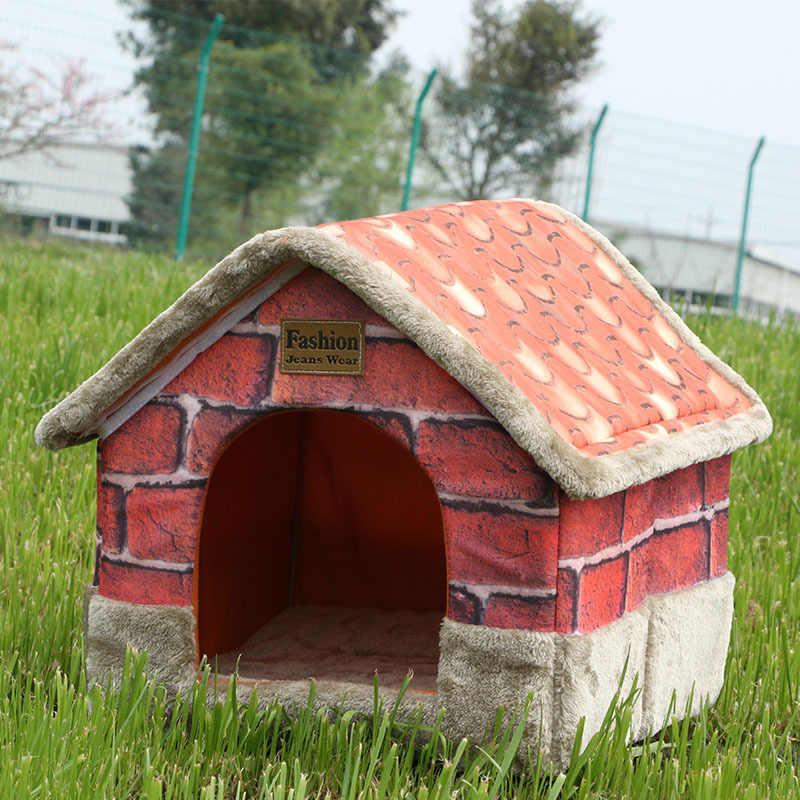 Домашняя собачья будка утепленная и уютная кровать для кошек винтажная кирпичная кровать для щенка диван-домик с подушкой кровать для собак и кошек для маленьких средних собак