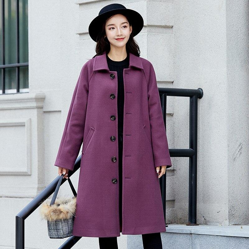 Pure Color Woolen Long Coat 2019 New Autumn Winter Ladies Single Breasted Women Coat Purple