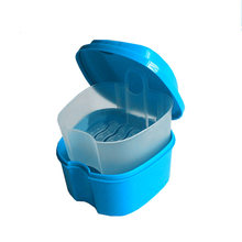 Denture Bath Box Case Tooth Blue White Deep Blue Boxes Dental False Colors Teeth Storage Box with Hanging Net Container *20(China)