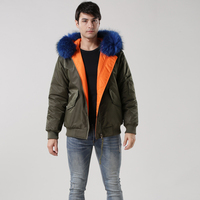 2016 Winter New Top Quality Faux Fur Hooded Army Green Parka Mens Blue Collar Overcoat Large Size Thick Coat Parkas S M L XL XXL