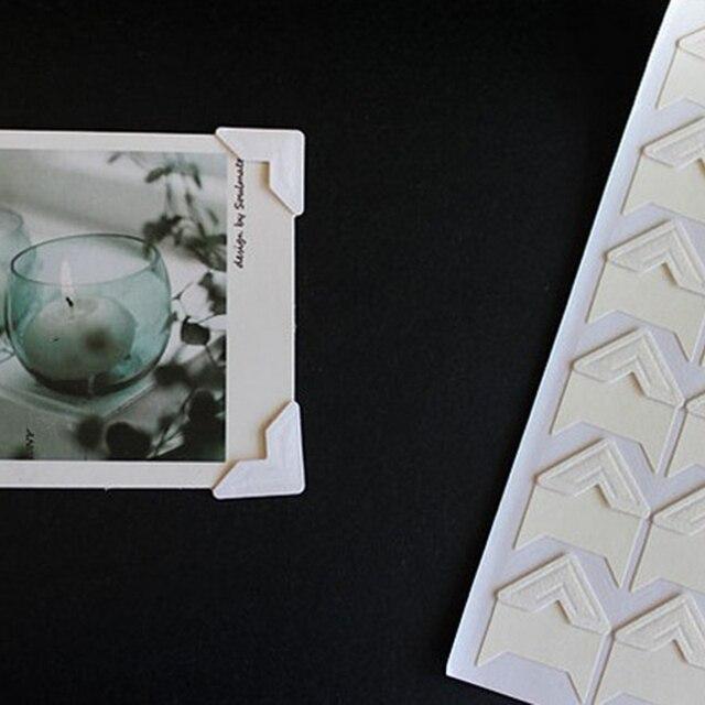 120 sztuk/partia (5 arkuszy) papier pakowy vintage Corner naklejki dla scrapbookingu albumy ze zdjęciami ramki DIY dekoracji, złoty/biały/czarny ..