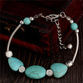 027 Charm Beads Fashion Jewelry Vintage Hollow Out Handmade Petals Tibetan Silver Turquoise Bracelet